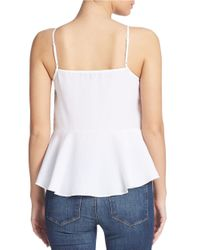 Guess | White Embellished Peplum Tank Top | Lyst