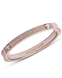 Michael Kors | Pink Brilliance Rose Gold Pave Hinge Bangle | Lyst