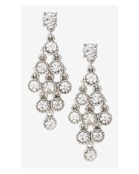Express | Metallic Rhinestone Waterfall Earrings | Lyst