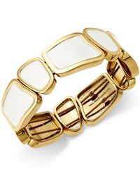 Kate Spade | Metallic Gold-tone White Stretch Bracelet | Lyst