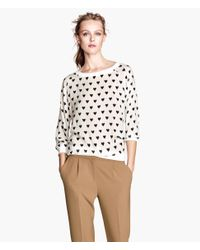 H&M | White Woven Top | Lyst