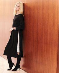 Joan Vass - Black Long Zipper Dress W/ Contrast Gusset - Lyst