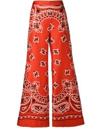 Moschino | Red Paisley Wide Leg Trousers | Lyst