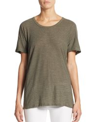 James Perse - Green Striped Split-hem Tee - Lyst