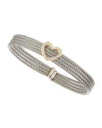 Alor - Gray Diamond-heart-station Four-row Cable Bangle - Lyst