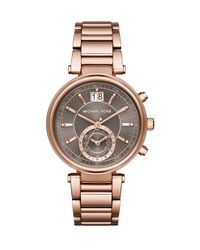 Michael Kors - Gray Sawyer Rose Goldtone Stainless Steel Subdial Bracelet Watch - Lyst