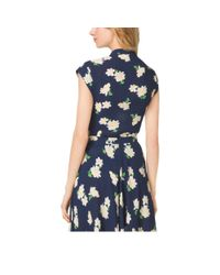 Michael Kors - Blue Camellia Print Silk-Georgette Cap-Sleeve Blouse - Lyst