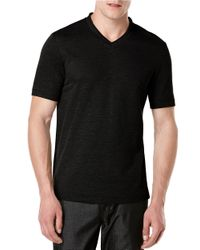 Perry Ellis | Black Oxford V-neck T-shirt for Men | Lyst