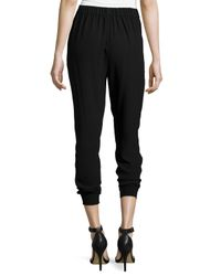 Eileen Fisher - Black Georgette Crepe Pleated Ankle Pants - Lyst