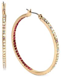 Betsey Johnson - Pink Gold-tone Pavé Inside Out Hoop Earrings - Lyst