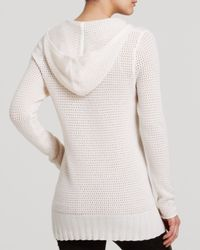 Aqua - White Cashmere Sweater - Pointelle Hoodie - Lyst