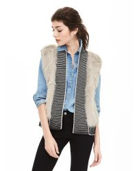 Banana Republic | Natural Faux-fur Trim Open Sweater Vest | Lyst