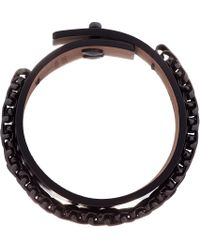 Lanvin - Gray Gunmetal and Leather Chainmail Bracelet for Men - Lyst