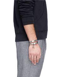 Alexander McQueen - Metallic Double Wrap Skull Leather Bracelet for Men - Lyst