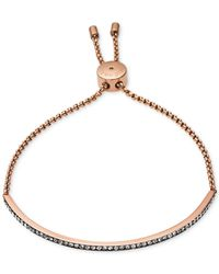 Michael Kors | Pink Rose Gold-Tone Crystal Slider Bar Bracelet | Lyst