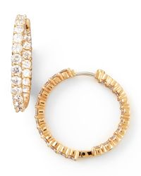 Roberto Coin | Metallic 35mm Rose Gold Diamond Hoop Earrings | Lyst
