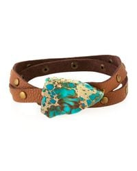 Panacea - Brown Studded Leather Wrap Bracelet - Lyst