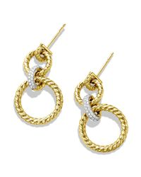 David Yurman | Yellow Cable Doorknocker Earrings With Diamonds | Lyst