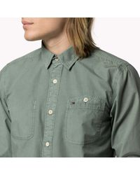 Tommy Hilfiger | Green Cotton Garment Dyed Shirt for Men | Lyst