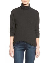 James Perse | Gray Relaxed Cotton Jersey Turtleneck | Lyst