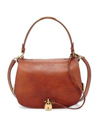 Ralph Lauren - Brown Double-flap Leather Saddle Bag - Lyst