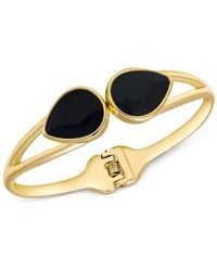 Tahari | T Gold-tone Black Stone Hinged Bangle Bracelet | Lyst