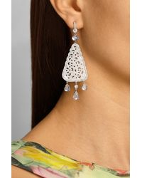 Nina Runsdorf | 18karat White Gold Jade Diamond and Moonstone Earrings | Lyst