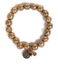Lucky Brand - Metallic Goldtone Beaded Stretch Bracelet - Lyst