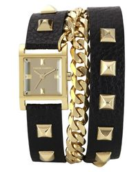 Vince Camuto - Metallic Women'S Gold-Tone Pyramid Stud And Chain Black Leather Wrap-Around Strap 22Mm Vc-5088Gmbk - Lyst
