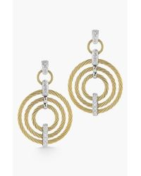 Alor | Metallic Cable & Diamond Drop Earrings | Lyst