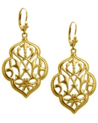 T Tahari | Metallic Gold-tone Filigree Drop Earrings | Lyst