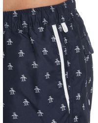 Original Penguin | Blue Logo Box Swim Trunks for Men | Lyst