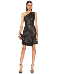 J. Mendel | Black Asymmetrical One Shoulder Viscose Dress | Lyst