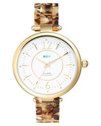 La Mer Collections | Metallic 'sicily' Patterned Acetate Bracelet Watch | Lyst