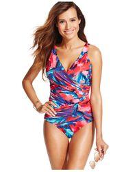 INC International Concepts - Multicolor Crisscross Printed One-piece Swimsuit - Lyst