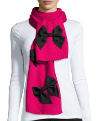 kate spade new york | Pink Diagonal-rib Bow Scarf | Lyst
