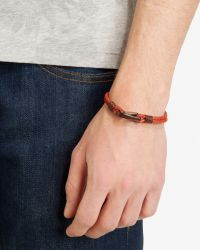 Ted Baker - Orange Double Layer Woven Leather Bracelet for Men - Lyst