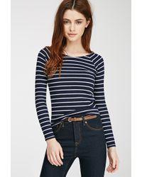Forever 21 - Blue Striped Raglan Top - Lyst