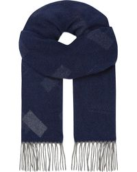 Armani | Blue Rectangular Cashmere Scarf for Men | Lyst