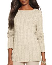 Lauren by Ralph Lauren | Natural Petite Cable-knit Cotton Sweater | Lyst