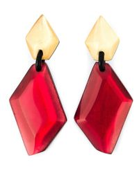 Monies | Red Resin Stone Oversized Clip-on Earrings | Lyst