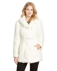 Catherine Malandrino | White Snap Tab Closure Faux Fur Coat | Lyst