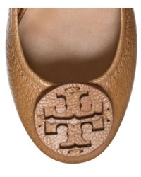 Tory Burch | Brown Reva Tumbled Logo Flats | Lyst