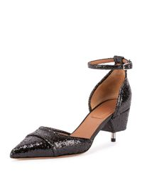 Givenchy - Black Screw-Heeled Glittered Pumps - Lyst