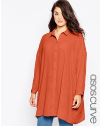 ASOS - Brown Oversized Longline Blouse - Lyst