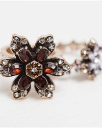 Zara | Black Floral Gemstone Rings Pack Of 2 | Lyst