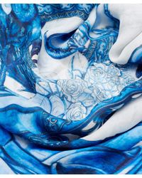 Swash London - Blue Porcelain Chiffon Scarf - Lyst