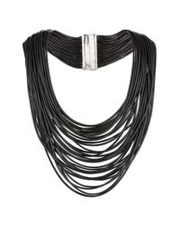 TOPSHOP - Black Fine Cord Multi-row Collar - Lyst