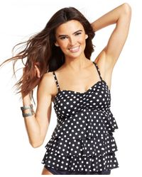 INC International Concepts - Black Polka-dot Tiered Tankini Top - Lyst