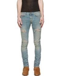 Saint Laurent - Blue Vintage Distressed Skinny Jeans for Men - Lyst